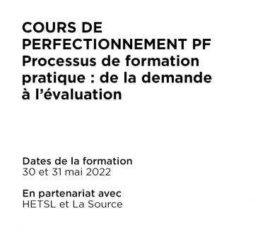 Cours de perfectionnement PF Processus de formation pratique : de la demande à l'évaluation
